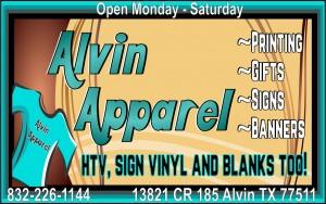 Alvin Apparel half page ad